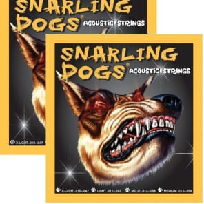 2 SETS - SNARLING DOGS GUITAR STRINGS ACOUSTIC MEDIUM LIGHT .012 -.054 for sale