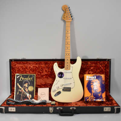 1997 Fender Jimi Hendrix Tribute Stratocaster White Electric Guitar w/OHSC for sale