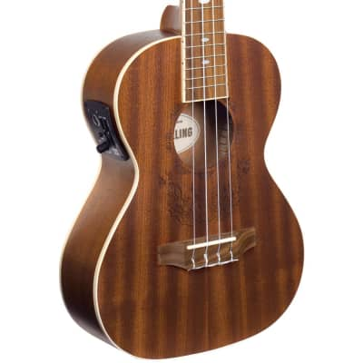 Lindo Little Feeling Tenor Electro Acoustic Sapele Ukulele and Padded Gig Bag -Flame Engraved Top for sale