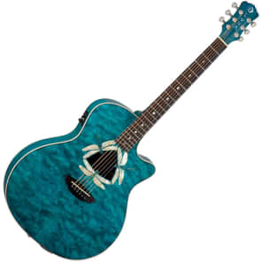 Luna FAUDFQM Fauna Series Dragonfly Quilted Maple Cutaway w/ Electronics Trans Teal