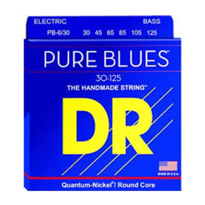 DR PB6-30-125 Pure Blue Quantum Nickel 6 Set Bass Strings, .030 - .125