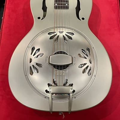 Gretsch G9201 Honey Dipper Round-Neck Brass Body Biscuit Cone Resonator Guitar 2010s Shed Roof / Gray for sale
