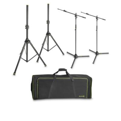 Gravity SSMS SET 1 Set of 2 Speaker and 2 Microphone Stands in Transport Bag