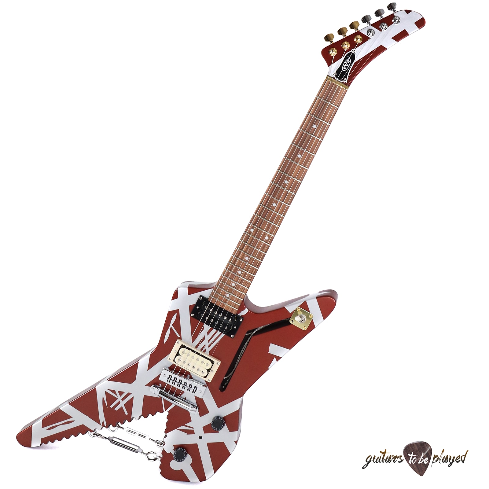 EVH Striped Series Shark Eddie Van Halen Electric Guitar - Burgundy w/  Stripes