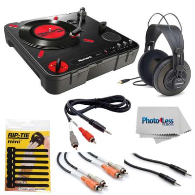 Numark PT01 Scratch Portable Turntable with DJ Scratch Switch + Samson Headphones + Cables + Rip-Tie