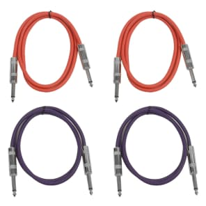 """Seismic Audio SASTSX-3-2RED2PURPLE 1/4"""" TS Male to 1/4"""" TS Male Patch Cables - 3' (4-Pack)"""