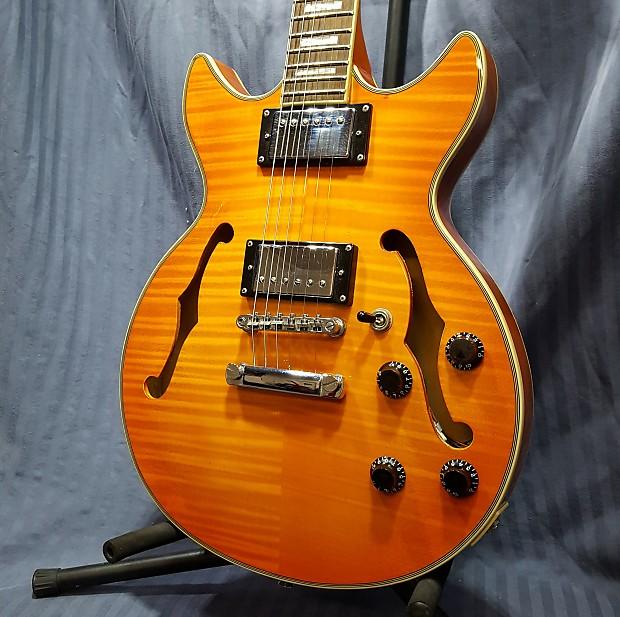 galveston semi hollow body electric guitar amber flame maple reverb. Black Bedroom Furniture Sets. Home Design Ideas