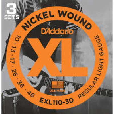 D'Addario EXL110-3D Nickel Wound Electric Guitar Strings, Regular Light, .10-.46, 3 Sets for sale