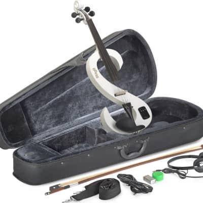 Stagg EVN-4/4-WH Silent Violin Set w/ Case, Headphones