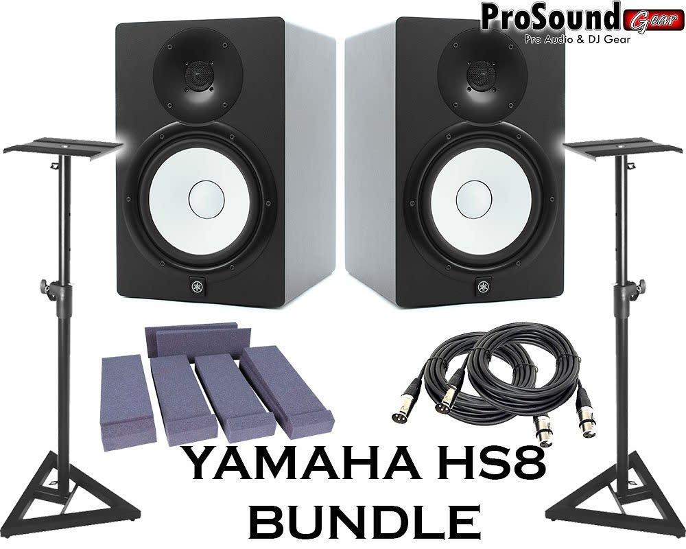 Yamaha hs8 powered studio monitor pair with xlr cables for Yamaha hs8 studio monitor speakers