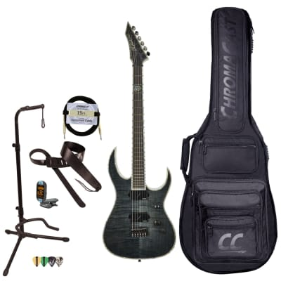 BC Rich Guitars Shredzilla Extreme Electric Guitar with Hipshot, Case, Strap, and Stand, Trans Black Flame for sale