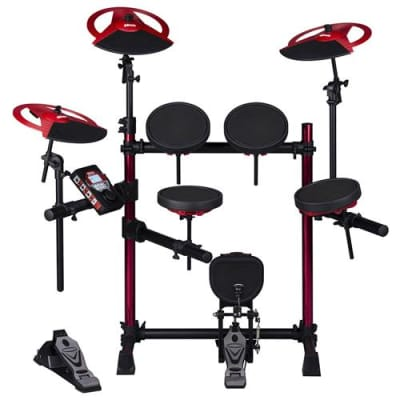 Ddrum DD Beta XP2 Complete Electronic Drum Set, Includes Low Profile Rack System with Red Aluminum Rack Up Rights, Throne, Headphones, Sticks, Dual Zo