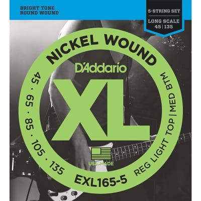 D'Addario EXL165-5 Nickel Wound Long Scale Bass Guitar Strings, Custom Light Top / Medium Bottom Gauge