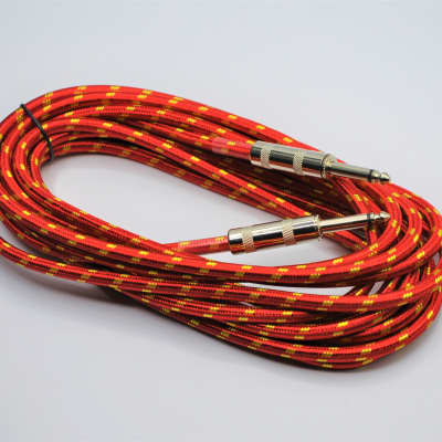 20ft Braided RED Electric/Acoustic Guitar/Bass Instrument Cable Chord Copper Core Material