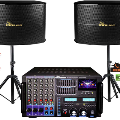 "IDOLPRO 8000W Mixing Amplifier & 1000W 12"" 3 Way Speakers Karaoke Combo"