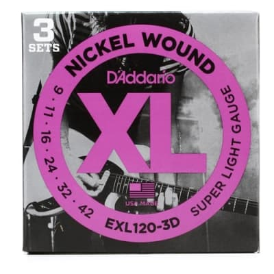 D'Addario EXL120-3D Nickel Wound Electric Strings Super Light 3-pack, .009 - .042