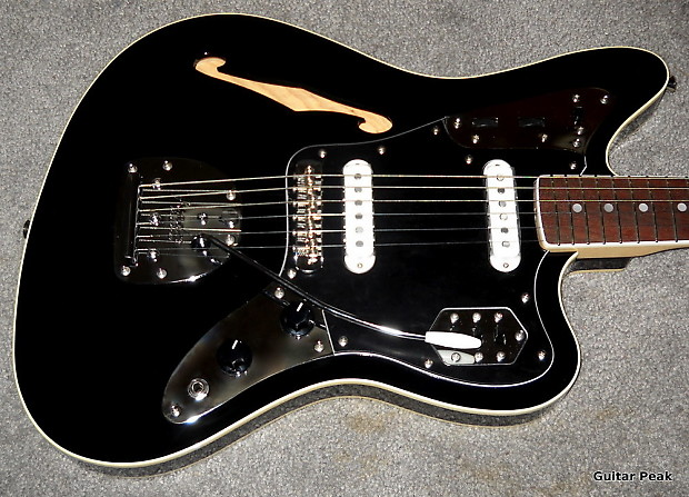 fender special edition jaguar thinline black | reverb