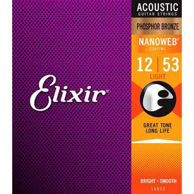 Elixir Phosphor Bronze Light Acoustic Guitar Strings with Nanoweb Coating .012-.053