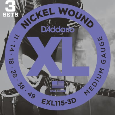 D'Addario EXL115-3D Nickel Wound Electric Guitar Strings, 3-Pack
