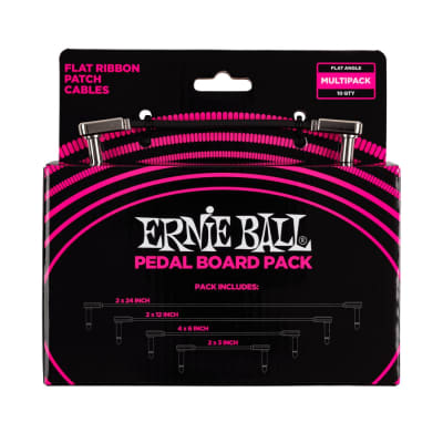 Ernie Ball 6224 Flat Ribbon Patch Cables Pedalboard Multi-Pack