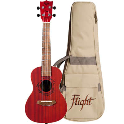 Flight Gemstone Series Concert Ukulele w/ Gig bag - Coral - DUC380