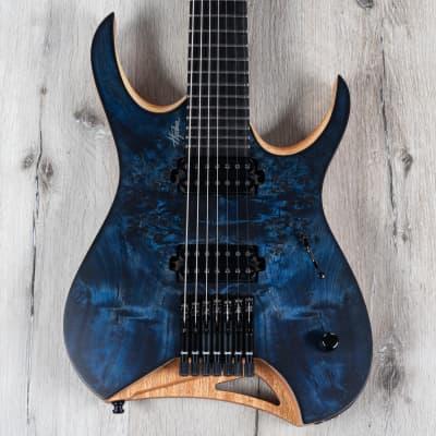 Mayones Hydra Elite 7 Guitar, 7-String, Ebony Fretboard, Trans Dirty Blue Burst