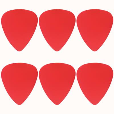 ABS Plastic Red Guitar Or Bass Pick - 0.71 mm Medium Gauge - 351 Shape - 6 Pack New