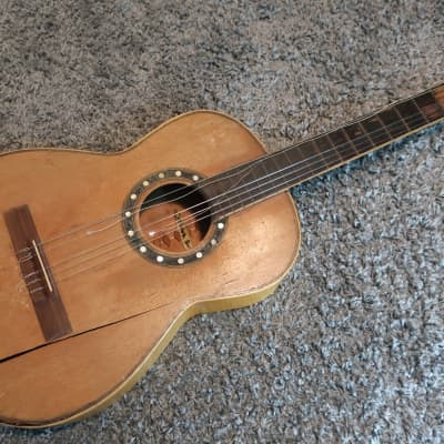 Vintage 1940s Mystery Spanish Acoustic Classical Guitar Project Well Made Inlays High Quality Tuners for sale
