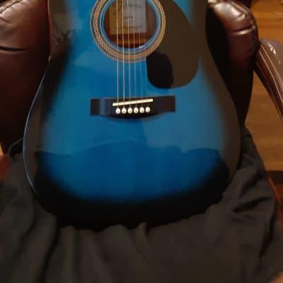 Johnson JG-610-BL Player Series Dreadnought Acoustic Guitar &  Road Runner Gig Bag Guitar case for sale