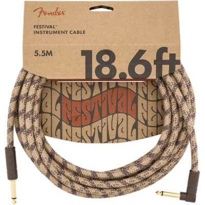 Fender Festival Instrument Cable, Angled/Straight, 5.7M/18.6FT, Pure Hemp, Brown for sale