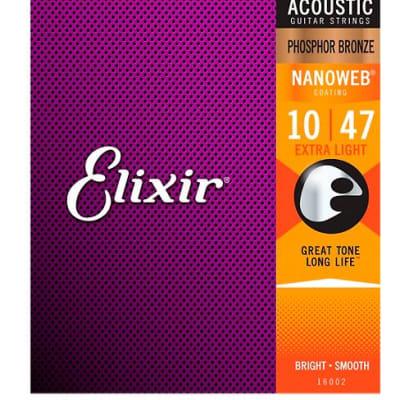 Elixir Phosphor Bronze Acoustic Guitar Strings with NANOWEB Coating, Extra Light (.010-.047)