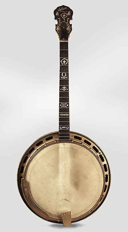 Gibson  TB-5 De Luxe Tenor Banjo (1925), ser. #8105-1, black hard shell case.