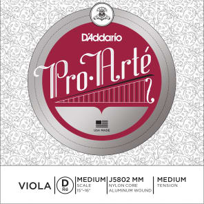 D'Addario J5802 MM Pro-Arte Viola Single D String - Medium Scale, Medium Tension