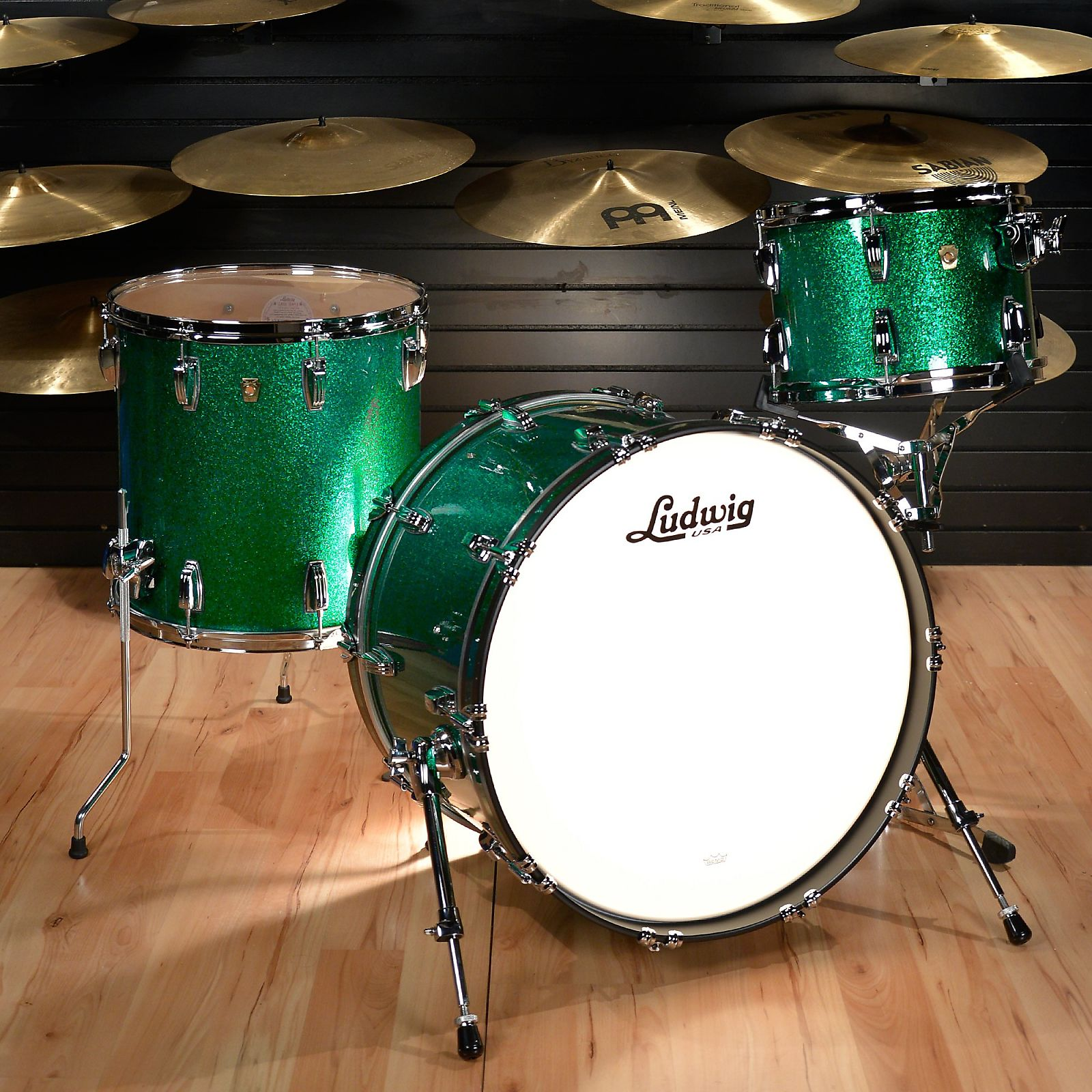 Ludwig 13/16/22 Classic Maple FAB Kit Green Sparkle