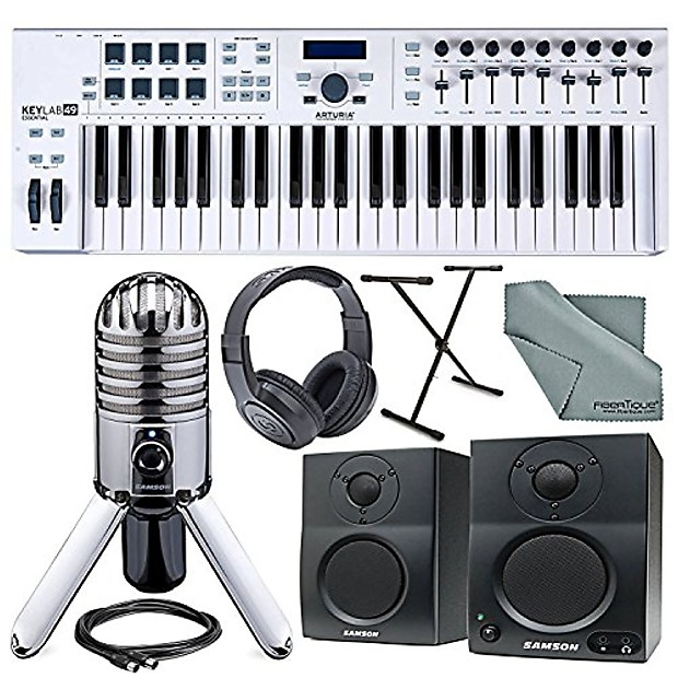Arturia KeyLab Essential 49 Universal MIDI Keyboard Controller and Software  + Deluxe Accessory Bundle w/ Samson Meteor Mic, SR350 Headphones, Keyboard