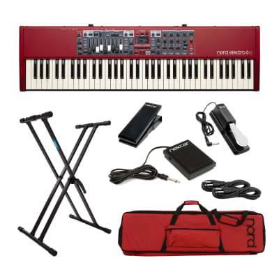 Nord Electro 6D 73-Note Semi-Weighted Keyboard,  Nord Soft Case GB73, Nektar NX-P, Sustain Pedal,  Nektar NP-1, Keyboard Stand, 2x 1/4 Cable Bundle