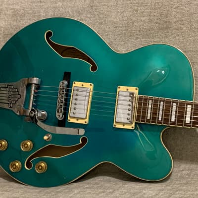 2007 Ibanez Artcore AFS75TD Ocean Blue Faded Green Hollowbody Electric Guitar Players Condition