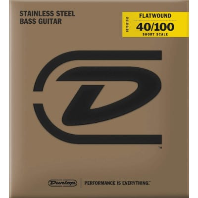 Dunlop DBFS40100S Stainless Steel Short Scale .040 - .100 Flatwound Bass Strings
