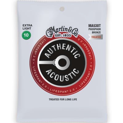 Martin MA530T Authentic Acoustic Lifespan 2.0 Phosphor Bronze Acoustic Guitar Strings - Extra Light (.10 - .47)
