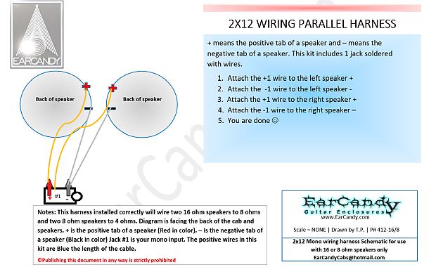 Earcandy 2x12 guitar amp speaker cab parallel wiring harness reverb earcandy 2x12 guitar amp speaker cab parallel wiring harness w jack cup hardware no soldering asfbconference2016 Images