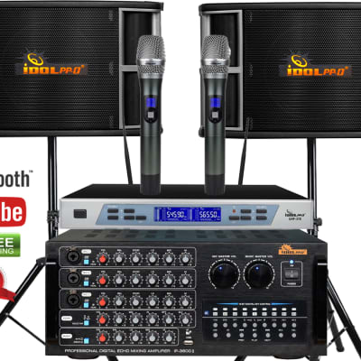 IDOLpro 1300W Karaoke System With Amplifier, Speakers and Dual Wireless Microphones Bundle