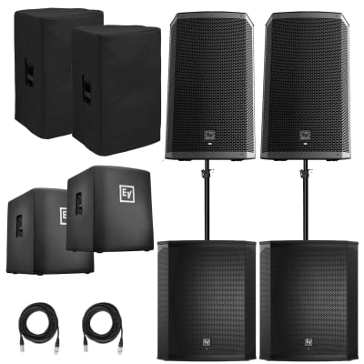 """(2) Electro-Voice ZLX-12BT 12"""" Powered Bluetooth Loudspeakers and Subwoofer Package."""