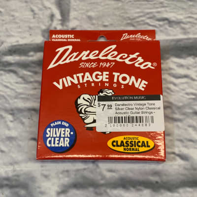 Danelectro Vintage Tone Silver Clear Nylon Classical Acoustic Guitar Strings - Normal Tension