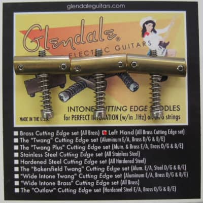 Glendale  LEFT HAND Brass Telecaster Saddles for sale