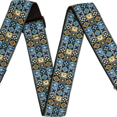 Fender Festival Woven Cotton with Polypropylene Backing Guitar Strap, Blue for sale