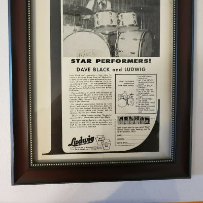 1958 Ludwig Drums Promotional Ad Framed Dave Black Original