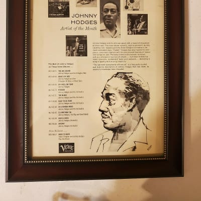 1959 Verve Records Promotional Ad Framed Johnny Hodges Artist Of The Month Original