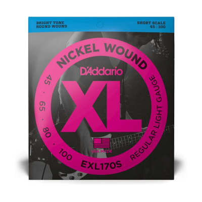 D'Addario EXL170S Light Nickel Wound Bass Strings, Light/Short Scale Set, 45-100