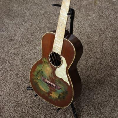Stromberg Voisinet Parlor Guitar Hawaiian Beach Scene for sale
