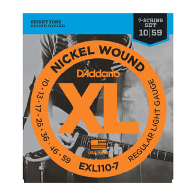 D'Addario EXL110-7 Regular Light Gauge 10-59 Nickel Wound 7-String Electric Guitar Strings